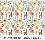 cheerful llama vector pattern | Shutterstock .eps vector #1007413162