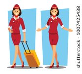 flying attendants   air hostess ... | Shutterstock .eps vector #1007425438
