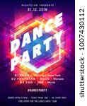 dance party poster vector... | Shutterstock .eps vector #1007430112
