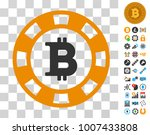 bitcoin casino chip icon with...