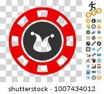 joker casino chip icon with...