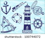 nautical collection   hand... | Shutterstock .eps vector #100744072