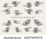 set of ribbon drawn in... | Shutterstock .eps vector #1007449375