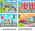 schoolchildren cross road on... | Shutterstock . vector #1007450392