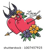 tattoo art. two hearts pierced... | Shutterstock .eps vector #1007457925