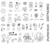 set of hand drawn cute modern... | Shutterstock .eps vector #1007463802