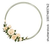 wreath with beige rose. floral... | Shutterstock .eps vector #1007485762