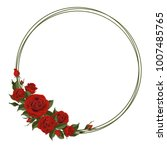 wreath with red rose. floral... | Shutterstock .eps vector #1007485765