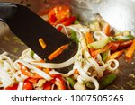 preparation wok pasta. | Shutterstock . vector #1007505265