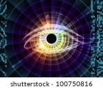 Design composed of eye outlines, numbers, fractal and abstract elements as a metaphor on the subject of modern technologies, mechanical progress, artificial intelligence, virtual reality and imaging - stock photo