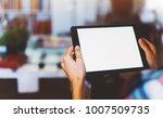hipster girl using tablet... | Shutterstock . vector #1007509735