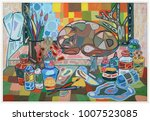 the work place of an artist or... | Shutterstock . vector #1007523085