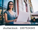 portrait of cheerful female... | Shutterstock . vector #1007524345