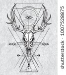 skull of the deer in ink... | Shutterstock .eps vector #1007528875