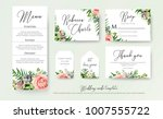 wedding floral invite thank you ... | Shutterstock .eps vector #1007555722