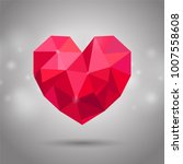 red triangle or polygonal heart.... | Shutterstock .eps vector #1007558608