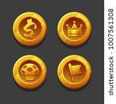 set of golden coins or reward...