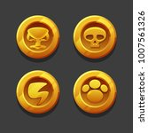 set of golden coins or reward...