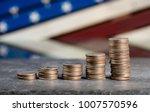increasing pile of us quarter... | Shutterstock . vector #1007570596