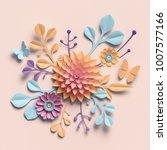 3d rendering  paper flowers ... | Shutterstock . vector #1007577166