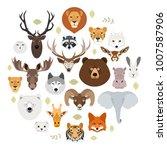 big animal face icon set.... | Shutterstock . vector #1007587906