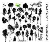 set of silhouette trees. vector | Shutterstock .eps vector #1007591965