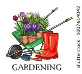 Stock vector hand drawn gardening banner wheelbarrow flowers rubber boots and garden tools in a sketch style 1007614042