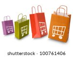 colorful shopping bags with e... | Shutterstock . vector #100761406