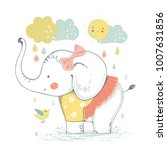 cute elephant baby girl.... | Shutterstock .eps vector #1007631856
