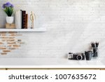 front view of minimal desk and... | Shutterstock . vector #1007635672