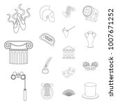 theatrical art outline icons in ... | Shutterstock .eps vector #1007671252