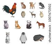 realistic animals cartoon icons ... | Shutterstock .eps vector #1007673502