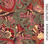 seamless mehndi vector pattern. ... | Shutterstock .eps vector #1007673982