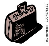 suitcase with stickers shape   Shutterstock .eps vector #1007676682