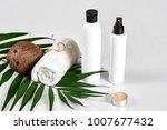 coconut with jars of coconut...   Shutterstock . vector #1007677432