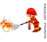 extinguish fire. fireman hold... | Shutterstock . vector #1007692816