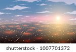 vector city in morning. dawn on ... | Shutterstock .eps vector #1007701372