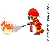 extinguish fire. fireman hold... | Shutterstock . vector #1007704552