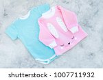 baby clothes concept. blue... | Shutterstock . vector #1007711932
