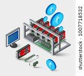 ethereum mining work farm rig... | Shutterstock .eps vector #1007718532