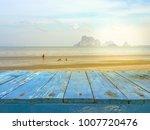 blue wooden floor top view with ...   Shutterstock . vector #1007720476