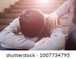 depressed man sit in... | Shutterstock . vector #1007734795