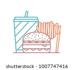 fast food colored line icon  ... | Shutterstock .eps vector #1007747416
