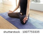 time for yoga concept. young... | Shutterstock . vector #1007753335