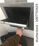 hand opening trash chute | Shutterstock . vector #1007753425