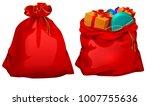 full gift open and closed santa ... | Shutterstock . vector #1007755636