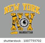 american new york college retro ... | Shutterstock .eps vector #1007755702