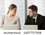 female and male colleagues... | Shutterstock . vector #1007757508
