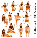 cartoon style indian sadhu... | Shutterstock .eps vector #1007759656