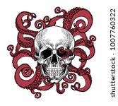 skull and tentacles of the... | Shutterstock .eps vector #1007760322